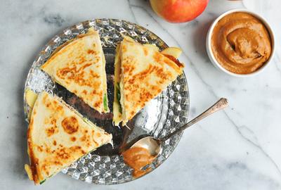 Turkey Apple Quesadillas With Creamy Pumpkin BBQ Sauce