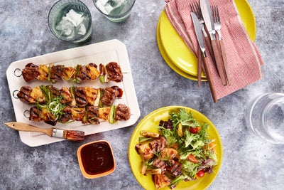 BBQ Beef, Scallion and Pineapple Kebabs
