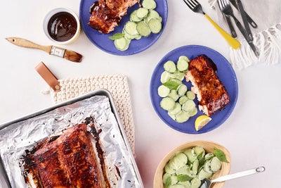 BBQ Roasted Salmon with Creamy Basil Cucumbers